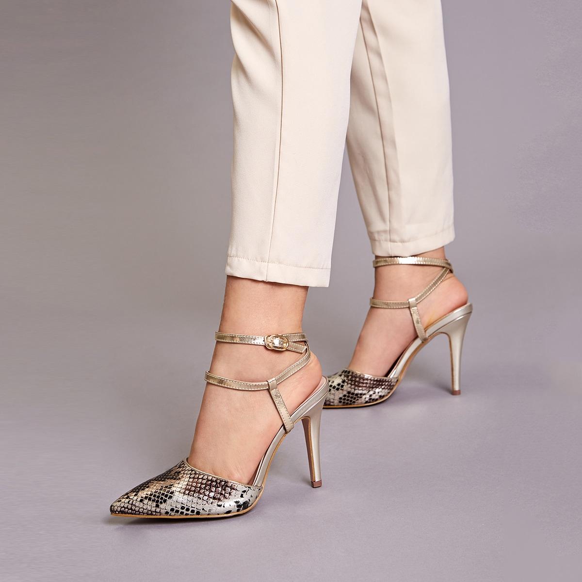 Остроконечные змеиные туфли на шпильках с ремешком от SHEIN