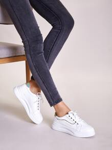Lace-up Front Glitter Wide Fit Sneakers