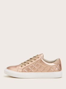 Metallic Quilted Lace-up Sneakers
