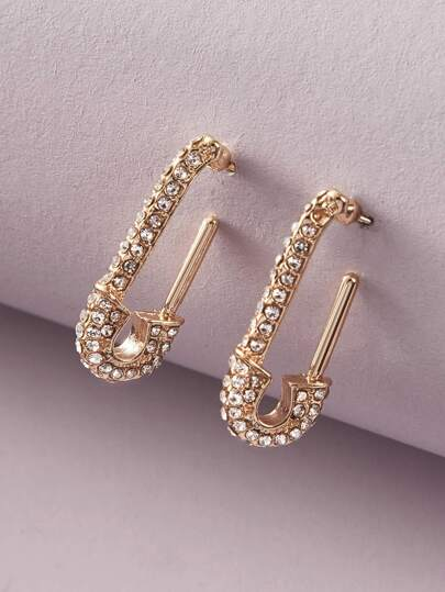 1pair Rhinestone Engraved Paperclip Design Earrings