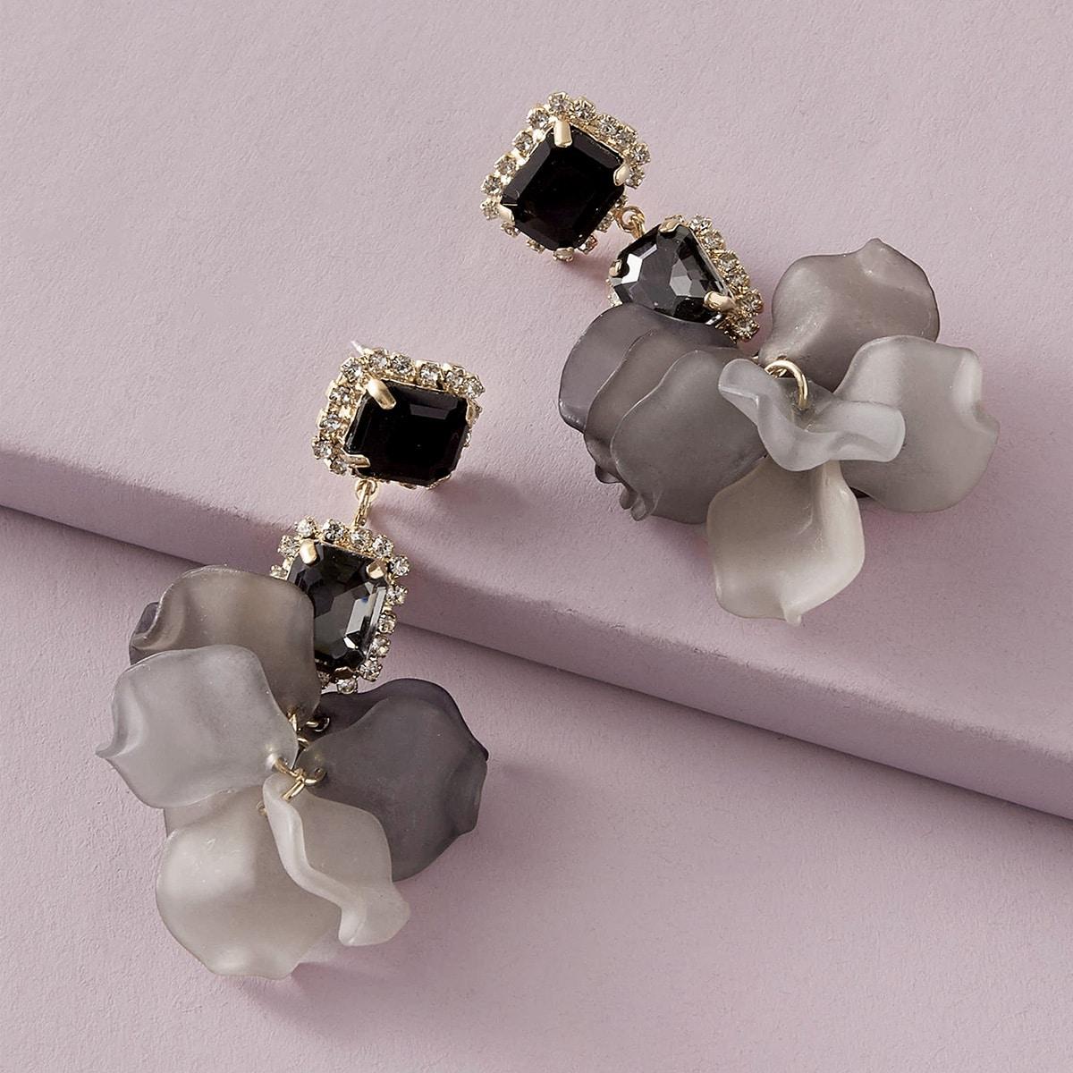1pair Rhinestone Decor Flower Drop Earrings