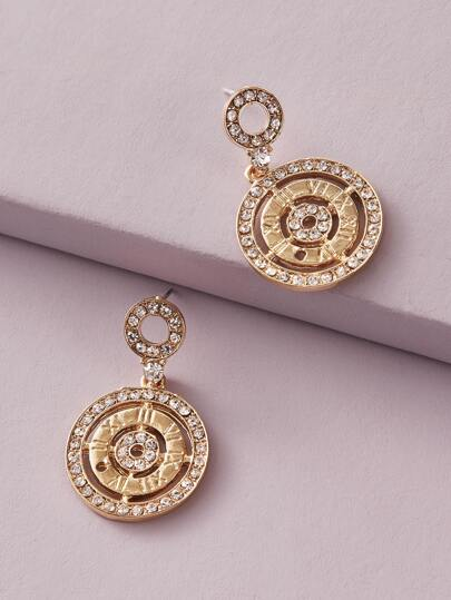 1pair Rhinestone Engraved Round Drop Earrings