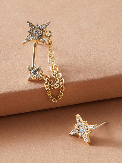 1pair Rhinestone Engraved Star Shaped Mismatched Earrings