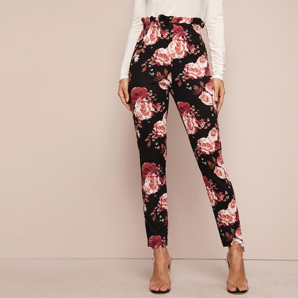 Цветочные облегающие брюки с присборенной талией