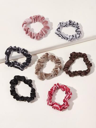 7pcs Striped & Polka Dot Pattern Scrunchies