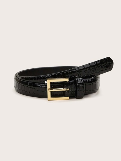 Crocodile Pattern Metal Buckle Belt