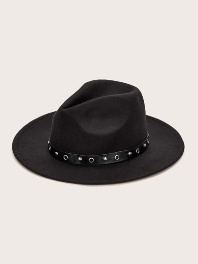 Rivet Eyelet Decor Fedora Hat