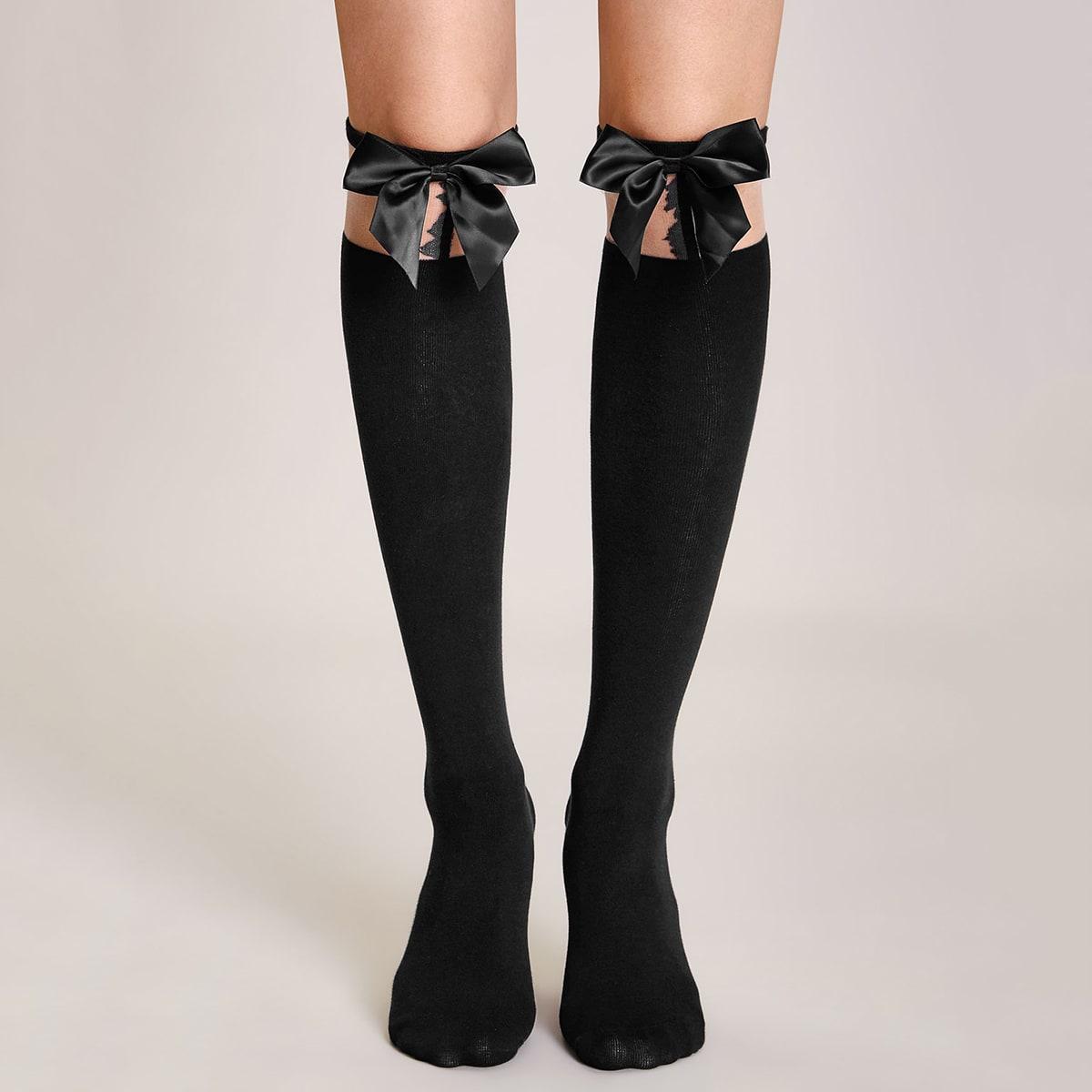 Длинные носки с бантом 1 пара