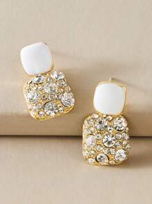 1pair Color Block Rhinestone Engraved Geometric Drop Earrings