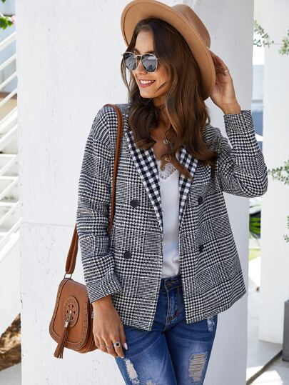 Lapel Double Button Houndstooth Tweed Coat