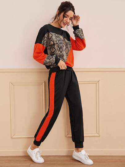 Snakeskin Color-Block Sweatshirt & Sweatpants