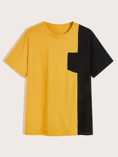 Men Two Tone Pocket Patched Tee