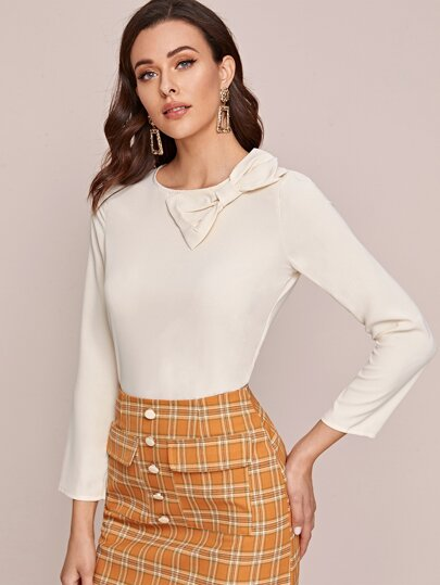 Bow Front Round Neck Blouse
