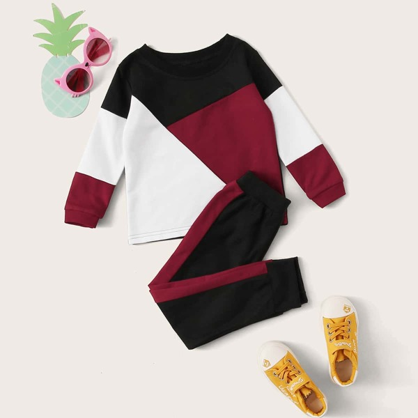 Toddler Girls Cut And Sew Sweatshirt & Sweatpants, Multicolor