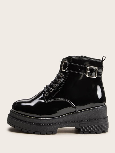 Buckle Decor Patent Lace-up Front Boots
