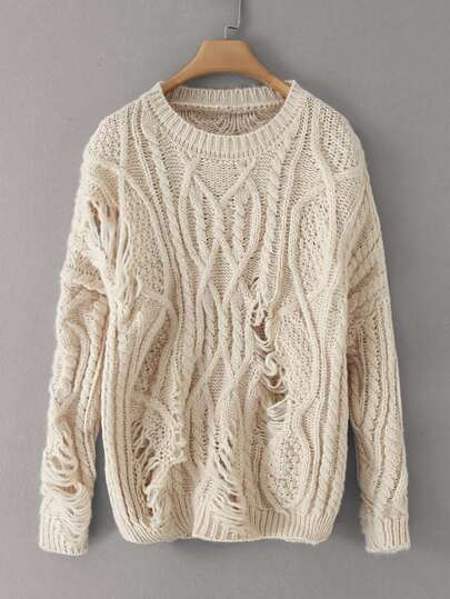 Solid Cable Knit Oversized Sweater