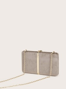 Snakeskin Clip Top Clutch Bag