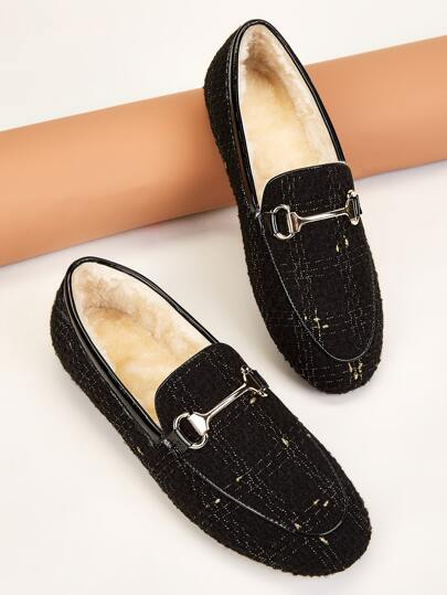 Metal Decor Faux Fur Lined Flat Loafers