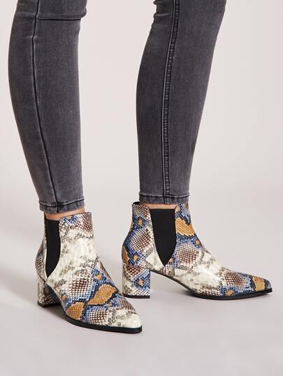 Snakeskin Print Point Toe Chunky Boots