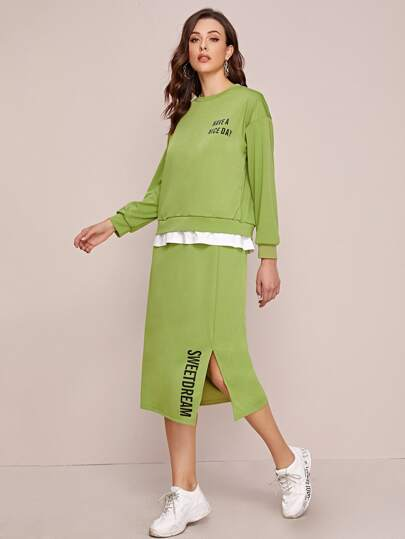 Slogan Graphic Combo Sweatshirt & Side Split Skirt
