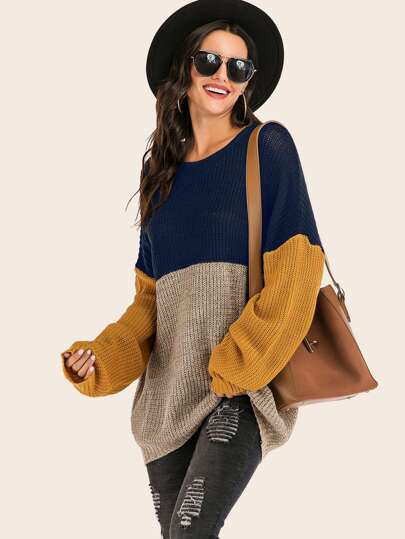 Colorblock Drop Shoulder Ribbed Knit Sweater