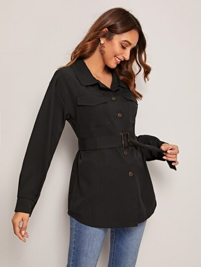 Solid Button Through Belted Trucker Coat