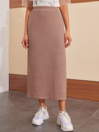 Solid Elastic Waist Straight Skirt Without Bag