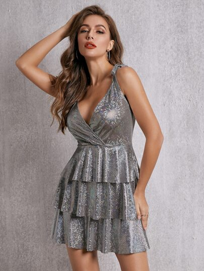SBetro Plunging Neck Layered Metallic A-line Dress