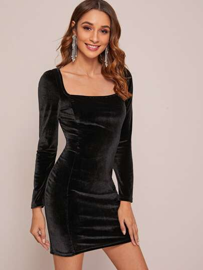 Solid Square Neck Velvet Dress