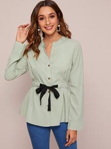 Button Through Drawstring Waist Blouse