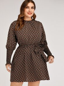 plus allover print shirred belted a-line dress