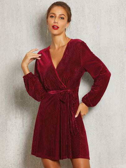 SBetro Surplice Wrap Belted Ribbed Velvet Dress