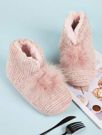Pom Pom Decor Faux Fur Lined Boots
