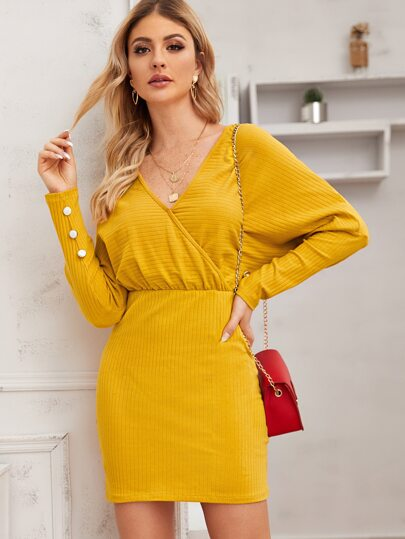 Batwing Sleeve Surplice Fitted Dress