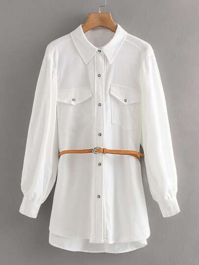 Flap Pocket Belted Cargo Blouse