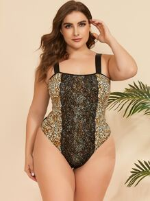 Plus Leopard Contrast Lace Teddy Bodysuit