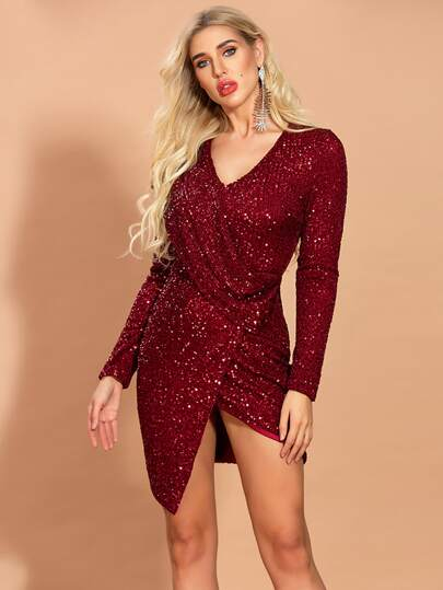 Missord Draped Wrap Asymmetrical Hem Sequin Dress