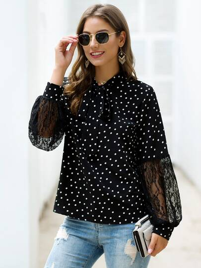 Polka Dot Contrast Lace Tie Neck Blouse