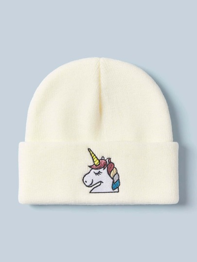Unicorn Embroidery Knitted Beanie