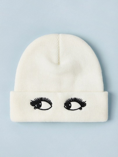 Eye Embroidery Knitted Beanie