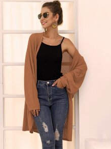 Solid Open Front Midi Cardigan