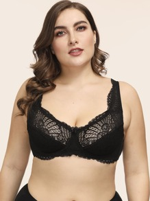 Plus Floral Lace Underwire Bra