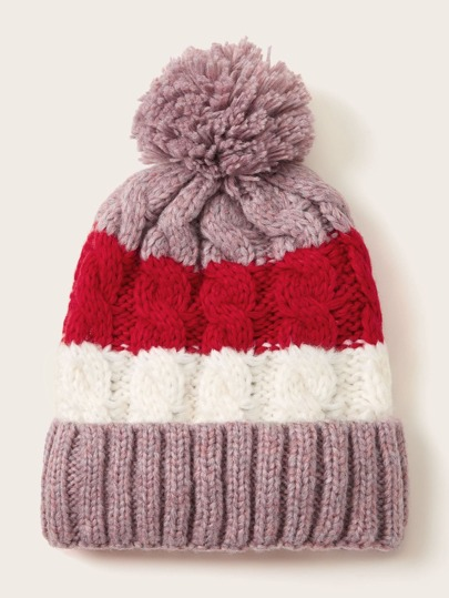 Pom Pom Color Block Beanie