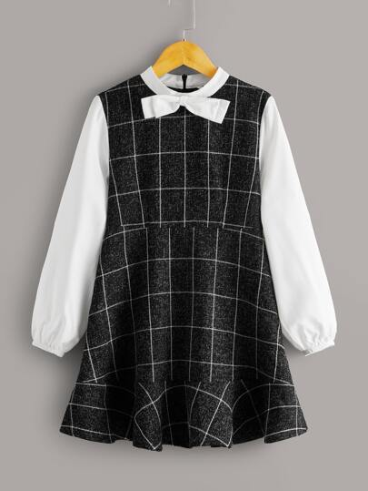 Girls Bow Detail Contrast Lantern Sleeve Grid Dress
