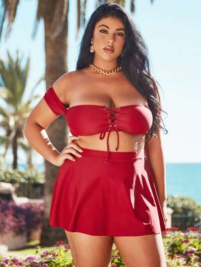 Plus Lace Up Front Bardot Top With Skorts Bikini