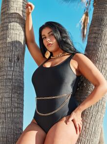 Plus Chain Detail One Piece Swimwear