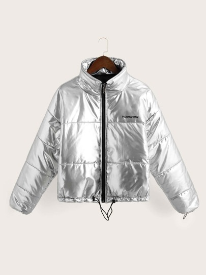 Letter Graphic Metallic Drawstring Padded Jacket