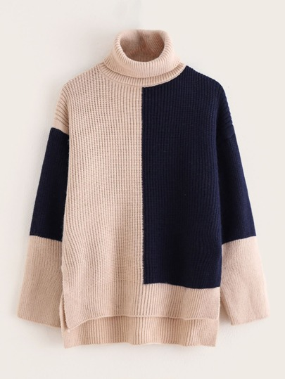 Cut And Sew Turtleneck High Low Sweater