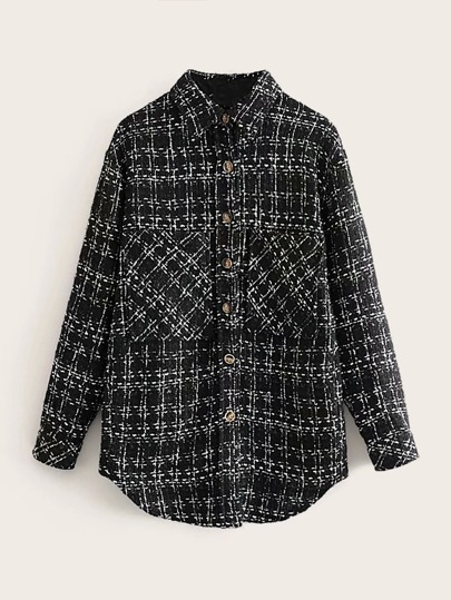 Pocket Front Plaid Tweed Coat
