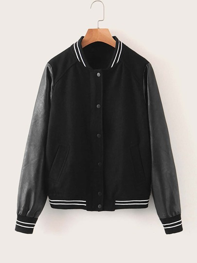 Contrast PU Sleeve Button Up Bomber Jacket